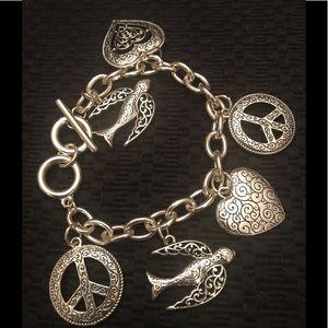 Jewelry - Silver peace /heart/dove charm bracelet toggle